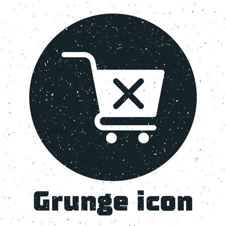 Grunge Remove shopping cart icon isolated on white background. Online buying concept. Delivery service sign. Supermarket basket and X mark. Vector Illustration
