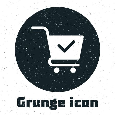 Grunge Shopping cart with check mark icon isolated on white background. Supermarket basket with approved, confirm, done, tick, completed symbol. Vector Illustration Çizim