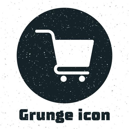 Grunge Shopping cart icon isolated on white background. Online buying concept. Delivery service sign. Supermarket basket symbol. Vector Illustration Stock Vector - 130090242