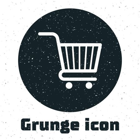 Grunge Shopping cart icon isolated on white background. Online buying concept. Delivery service sign. Supermarket basket symbol. Vector Illustration