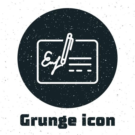 Grunge Signed document line icon isolated on white background. Pen signing a contract with signature. Edit document sign. Vector Illustration Çizim