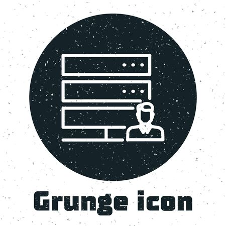 Grunge Customer care server icon isolated on white background. Tech support concept with male operator. Call center sign. Vector Illustration Ilustrace