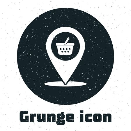 Grunge Map pointer with shopping basket icon isolated on white background. Pin point shop and shopping. Supermarket basket symbol. Vector Illustration