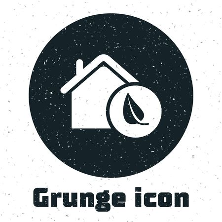 Grunge Eco friendly house icon isolated on white background. Eco house with leaf. Vector Illustration