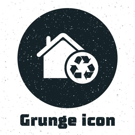 Grunge Eco House with recycling symbol icon isolated on white background. Ecology home with recycle arrows. Vector Illustration