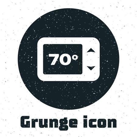 Grunge Thermostat icon isolated on white background. Temperature control. Vector Illustration