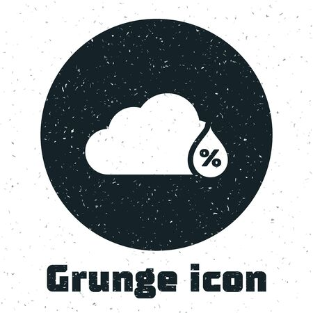 Grunge Humidity icon isolated on white background. Weather and meteorology, cloud, thermometer symbol. Vector Illustration