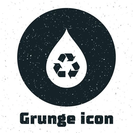 Grunge Recycle clean aqua icon isolated on white background. Drop of water with sign recycling. Vector Illustration