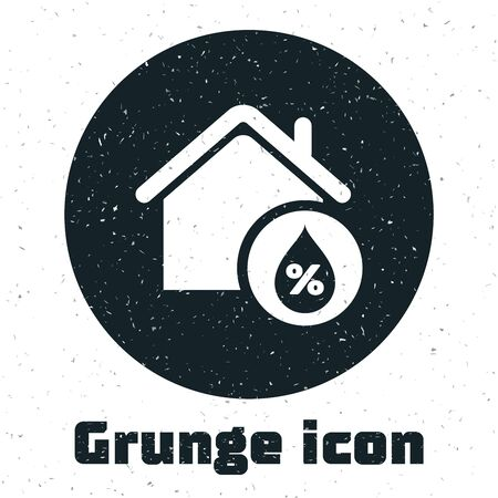 Grunge House humidity icon isolated on white background. Weather and meteorology, thermometer symbol. Vector Illustration Ilustracja