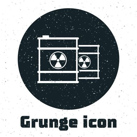 Grunge Radioactive waste in barrel icon isolated on white background. Toxic refuse keg. Radioactive garbage emissions, environmental pollution. Vector Illustration