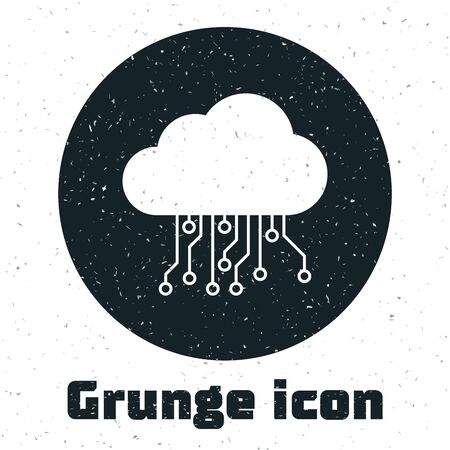 Grunge Internet of things icon isolated on white background. Cloud computing design concept. Digital network connection. Vector Illustration