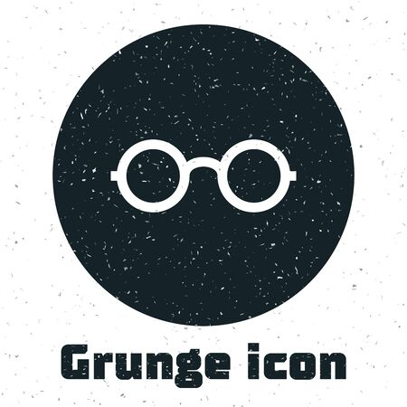 Grunge Glasses icon isolated on white background. Eyeglass frame symbol. Vector Illustration Иллюстрация