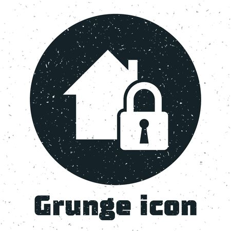 Grunge House under protection icon isolated on white background. Home and lock. Protection, safety, security, protect, defense concept. Vector Illustration