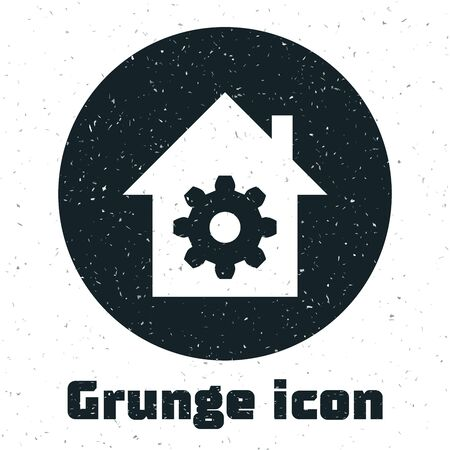 Grunge Smart home settings icon isolated on white background. Remote control. Vector Illustration Ilustracja