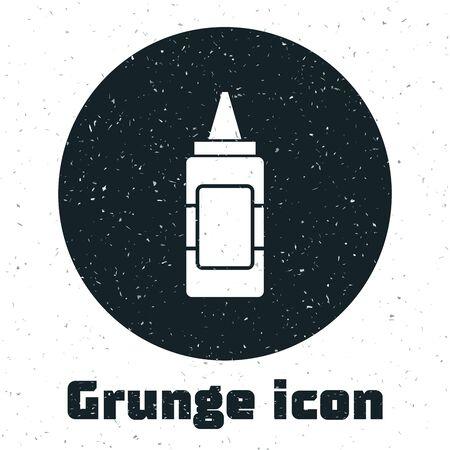 Grunge Mustard bottle icon isolated on white background. Vector Illustration Illustration