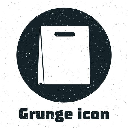 Grunge Paper shopping bag icon isolated on white background. Package sign. Vector Illustration