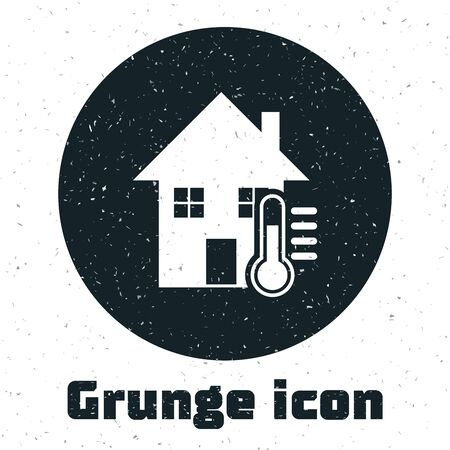 Grunge House temperature icon isolated on white background. Thermometer icon. Vector Illustration Illustration