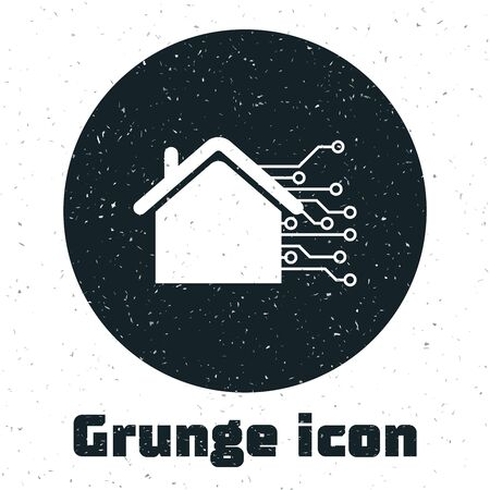 Grunge Smart home icon isolated on white background. Remote control. Vector Illustration