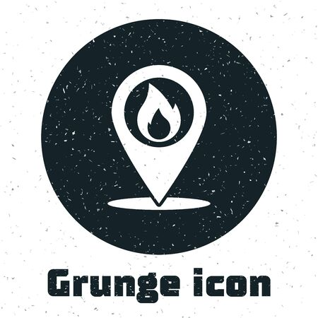 Grunge Map pointer with fire flame icon isolated on white background. Fire nearby. Vector Illustration