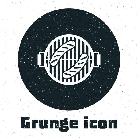 Grunge Barbecue grill with sausage icon isolated on white background. BBQ grill party. Vector Illustration Ilustrace