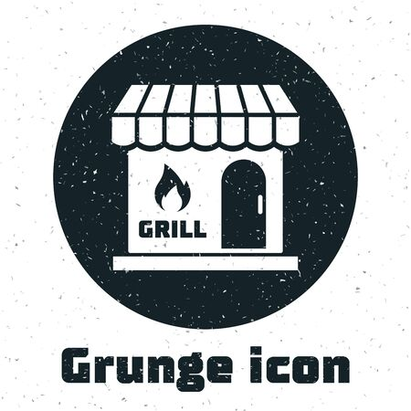 Grunge Barbecue shopping building or market store icon isolated on white background. BBQ grill party. Shop construction. Vector Illustration