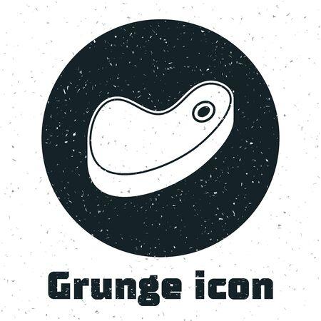 Grunge Steak meat icon isolated on white background. Vector Illustration