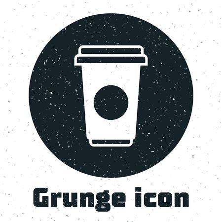 Grunge Coffee cup icon isolated on white background. Disposable coffee cup with hot coffee. Vector Illustration
