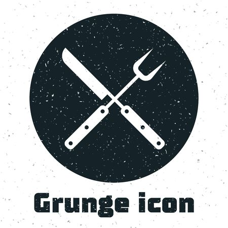 Grunge Crossed fork and knife icon isolated on white background. BBQ fork and knife sign. Barbecue and grill tools. Vector Illustration Ilustração