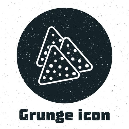 Grunge Nachos icon isolated on white background. Tortilla chips or nachos tortillas. Traditional mexican fast food. Vector Illustration