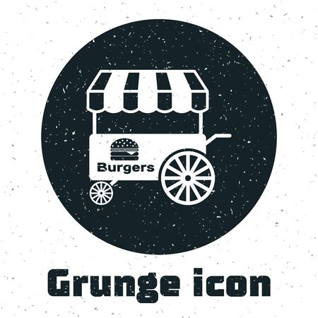 Grunge Fast street food cart with awning icon isolated on white background. Burger or hamburger icon. Urban kiosk. Vector Illustration