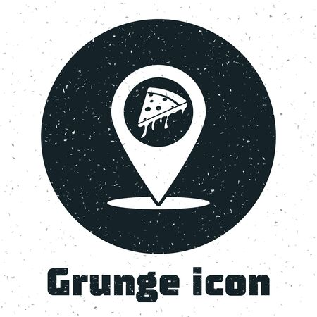 Grunge Map pointer with fast food slice pizza icon isolated on white background. Pizzeria location icon. Pizza cafe and restaurant marker. Vector Illustration