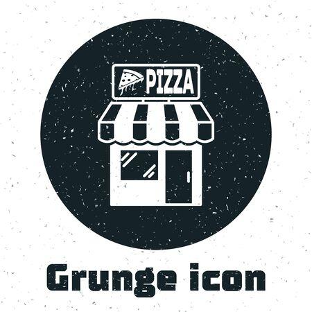 Grunge Pizzeria building facade icon isolated on white background. Fast food pizzeria kiosk. Vector Illustration Stockfoto - 130091098