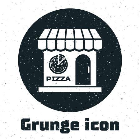 Grunge Pizzeria building facade icon isolated on white background. Fast food pizzeria kiosk. Vector Illustration Stock Illustratie