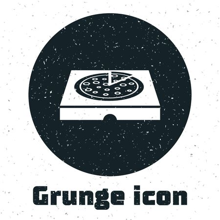 Grunge Pizza in cardboard box icon isolated on white background. Box with layout elements. Vector Illustration Stockfoto - 130091101
