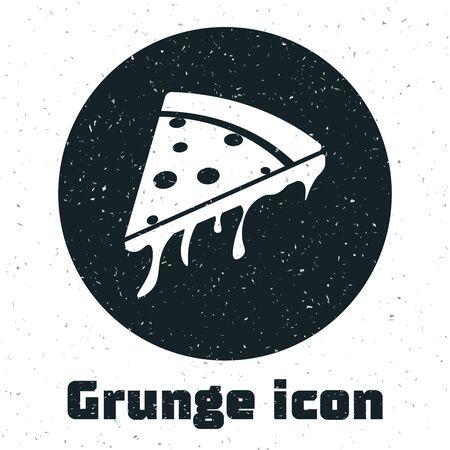 Grunge Slice of pizza icon isolated on white background. Vector Illustration Stock Illustratie