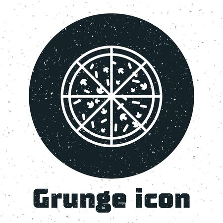 Grunge Pizza icon isolated on white background. Vector Illustration