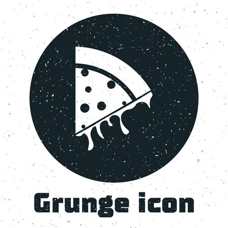 Grunge Slice of pizza icon isolated on white background. Vector Illustration Stockfoto - 130091399