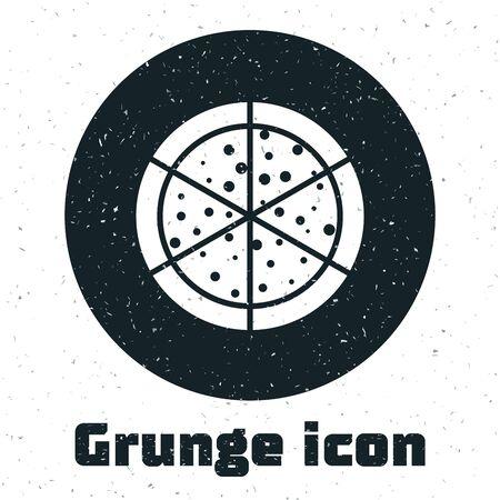 Grunge Pizza icon isolated on white background. Vector Illustration Stockfoto - 130091400