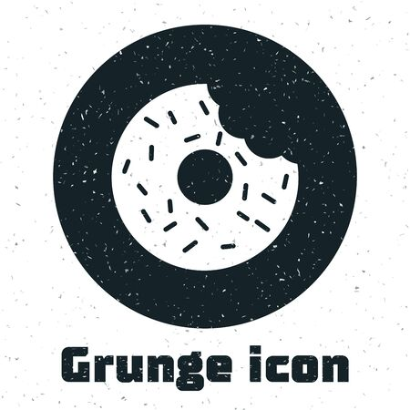 Grunge Donut with sweet glaze icon isolated on white background. Vector Illustration