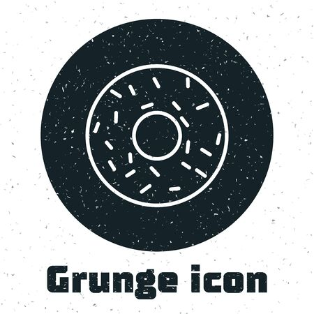 Grunge Donut with sweet glaze icon isolated on white background. Vector Illustration 版權商用圖片 - 130074727