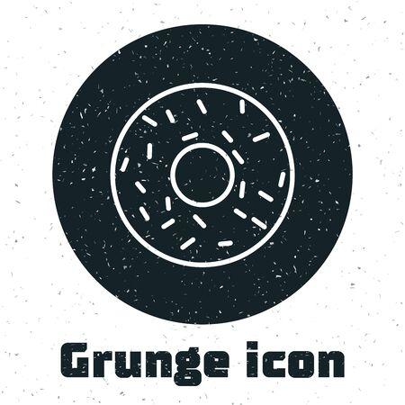 Grunge Donut with sweet glaze icon isolated on white background. Vector Illustration