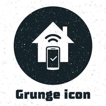 Grunge Smart home - remote control system icon isolated on white background. Vector Illustration