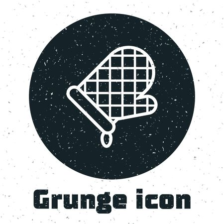 Grunge Oven glove icon isolated on white background. Kitchen potholder sign. Cooking glove. Vector Illustration Ilustração