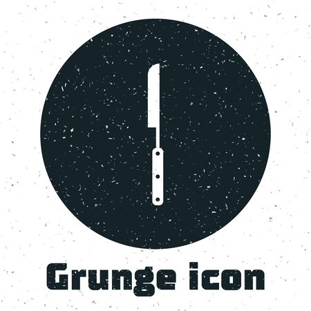 Grunge Barbecue knife icon isolated on white background. Kitchen knife icon. BBQ knife sign. Barbecue and grill tool. Vector Illustration
