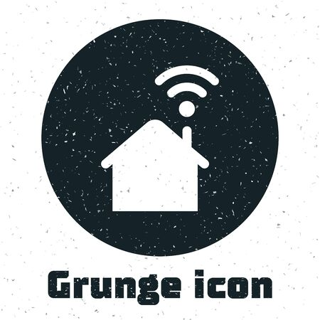 Grunge Smart home with wi-fi icon isolated on white background. Remote control. Vector Illustration Ilustracja