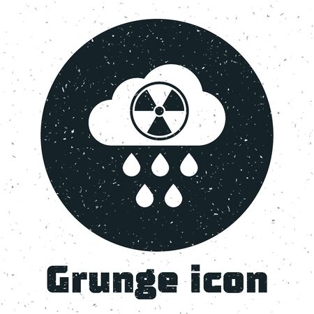 Grunge Acid rain and radioactive cloud icon isolated on white background. Effects of toxic air pollution on the environment. Vector Illustration