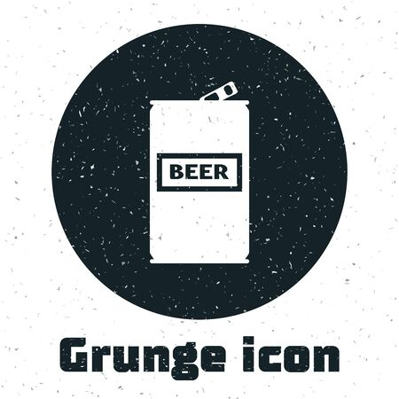 Grunge Beer can icon isolated on white background. Vector Illustration