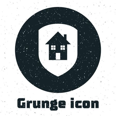 Grunge House under protection icon isolated on white background. Home and shield. Protection, safety, security, protect, defense concept. Vector Illustration