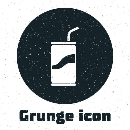 Grunge Soda can with drinking straw icon isolated on white background. Vector Illustration Illustration