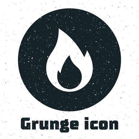 Grunge Fire flame icon isolated on white background. Heat symbol. Vector Illustration